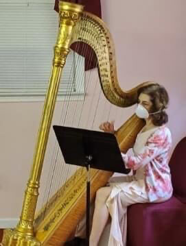 Atlanta Harpist Performs At Social Distancing Wedding