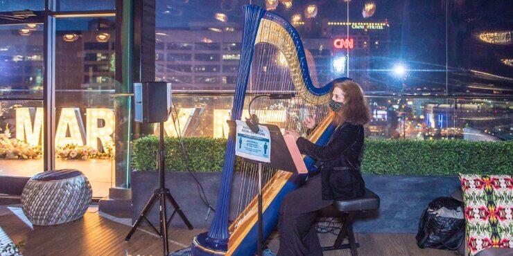 Atlanta Harpist Rooftop Wedding Proposal