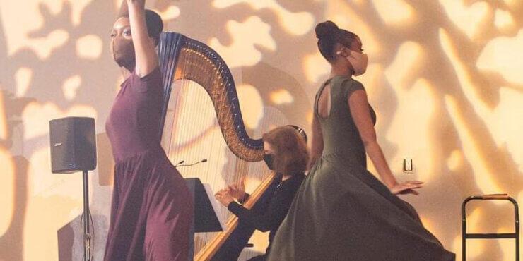 Wedding Harpist performs at King-Plow Arts Center Wedding